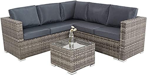 XHTANG Gartenmöbel-Set mit 9 Sitzen, Rattan-Gartenmöbel, Glas-Couchtisch, Konversations-Set, Kissen, Metallrahmen, Terrasse