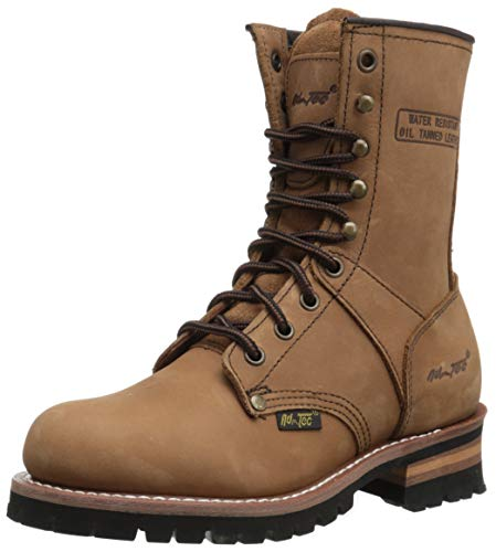 Ad Tec 9' Women Logger Boots Crazy Horse Leather, Plain Soft Safety Toe With Oil Resistant Lug Sole