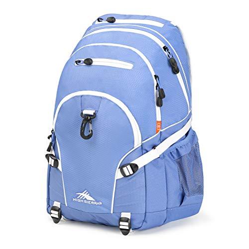 High Sierra Loop Backpack, School, Travel, or Work Bookbag with tablet sleeve, Lapis/White, One Size