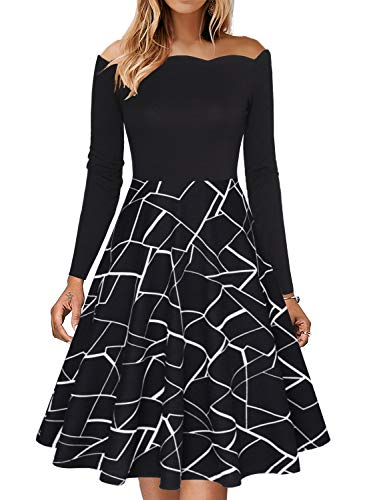 Fantaist Long Sleeve Winter Dress,Women Causal Off The Shoulder Aline Dresses for Special Occasions (L, FT655-Black Stripe)