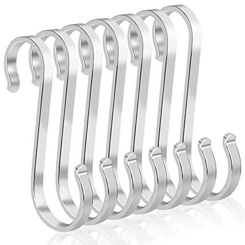 Rybtd 15 Piezas Ganchos en forma de S 304 acero inoxidable Ganchos para colgar ganchos S resistentes (Plata) para colgar ropa, toallas, plantas, tazas de café, etc.en cocina, dormitorio, baño, oficina