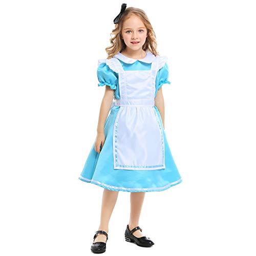 COSOER Alice Im Wunderland Mädchen Dienstmädchen Kostüm Halloween Princess Dress Performance Kleidung,Blue-XS//95-110cm