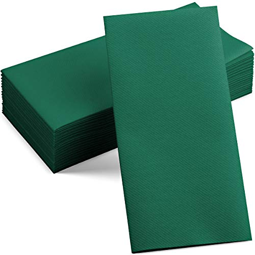 100 Linen-Feel Colored Paper Napkins - Decorative Cloth-Like Green Dinner Napkins - Soft And Absorbent. For Kitchen, Party, Wedding, Bathroom Or Any Occasion. (Pack of 100)