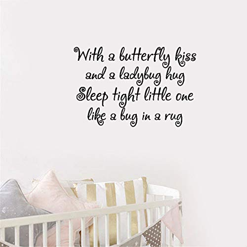 VinMea gauan Wall Art Stickers Quotes and Sayings with A Butterfly Kiss and A Ladybug Hug Sleep Tight Little One Like A Bug in A Rug for Nursery Kids Room