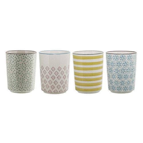 Bloomingville Becher Patrizia, grün rosa gelb blau, Keramik, 4er Set