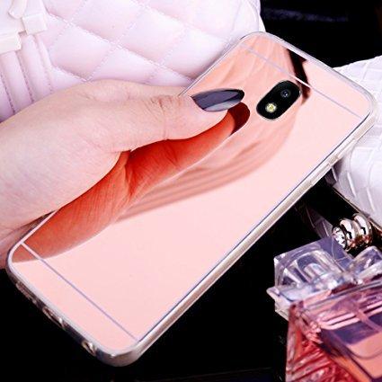 Uposao Kompatibel mit Galaxy J3 2017 Spiegel Schutzhülle Mirror Case Hülle Silikon Kristall Klar Handyhülle Transparent Soft Hülle Ultra Dünn Crystal Clear Weich Handyhülle,Rose Gold