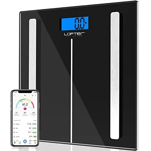 Körperfettwaage, Smarte Körperanalysewaage mit Bluetooth, LOFTer Digitale Personenwaage mit App für Körperfett, BMI, Gewicht, Muskelmasse, Wasser, Protein, Skelettmuskel, Knochengewicht, BMR