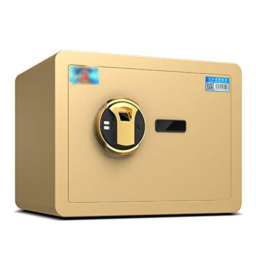 Sicherheitstechnik Fingerprint Safe Home Small Fingerprint Safe Office Mini Stahl Safe Hotel Wertsachen Safe Sicherheit Diebstahl- Alarmanlage Tresore (Color : Gold, Size : 38 * 30 * 30cm)