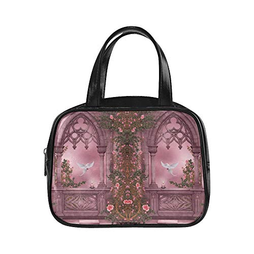 Carry Handtasche Fantasy Artistic Arch Rose Pink Vine Dove Kerze Womans Tote Bag Damen Handtasche Pu Leder Top Griff Satchel Woman Tote Bag