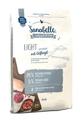 Sanabelle Light | Katzentrockenfutter mit vermindertem Energiergehalt für übergewichtige Katzen | 1 x 10 kg