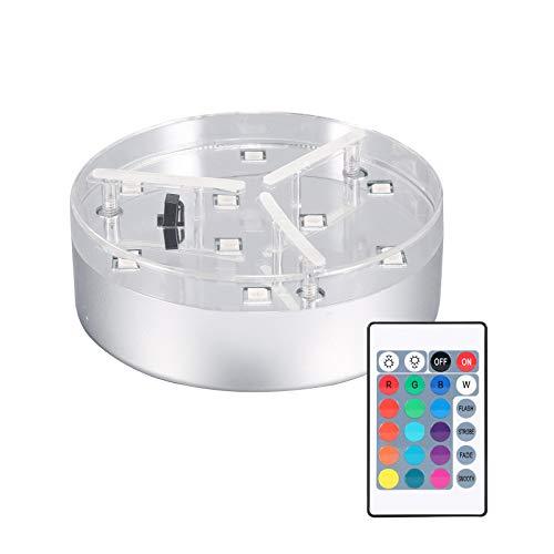 Nachar Lámpara de placa de florero, LED RGB 16 colores Luz de base de flor de luz con control remoto, novedosa lámpara de florero de 4 modos de luz brillante para decoración interior del hogar