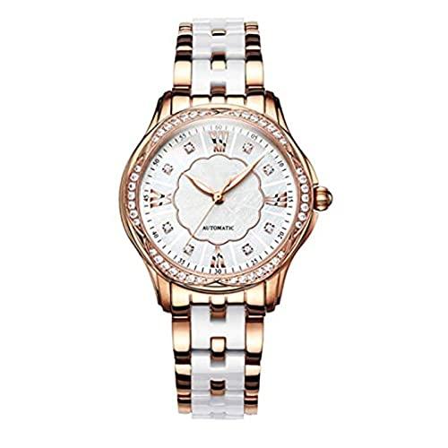 SADWF Reloj de Mujer Analógico con Pulsera de Cerámica de Acero Inoxidable, Esfera Impermeable de 30 M (Color : A)