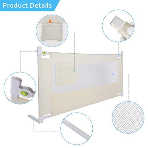 Safety 1st Bedbeschermrooster, beschermingsrooster, uitvallen, bescherming, valbeveiliging, verticaal, inklapbaar, zoals rolluiken, in hoogte verstelbaar 150/180/200cm x 68cm (L x H) 2M