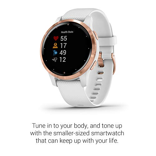 Garmin 010-02172-21 Vivoactive 4S, Smaller-Sized GPS Smartwatch, Features Music, Body Energy Monitoring, Animated Workouts, Pulse Ox Sensors, Rose Gold with White Band