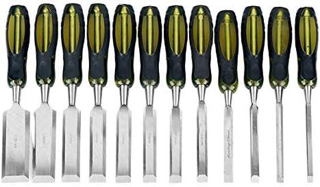 Premium Wood Chisel Set 12PCS 6 38mm Chrome Vanadium Steel Blades and Soft Grip Handles with product image