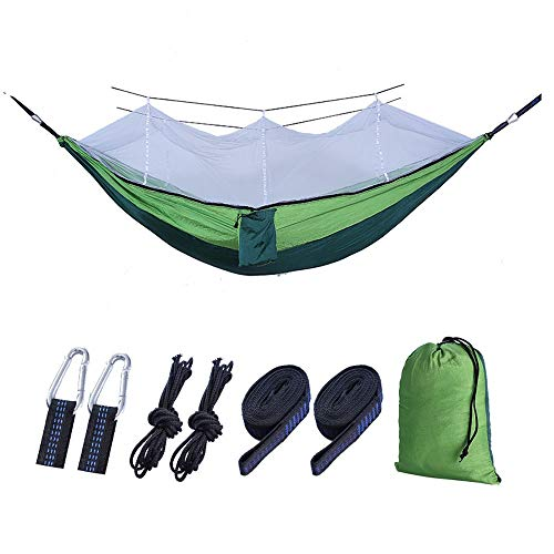 Outdoor Cotton Hammock Travel Bug Net Camping Hammock | 300kg Load Capacity,( 260 * 140cm ) Breathable,Quick-drying Parachute Nylon | 2 x Premium Carabiners, 4 x Nylon Slings Included | for Outdoor In
