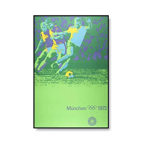 MXIBUN Das Gymnastikplakat der Olympischen Spiele 1972 in München Home Decor Gemälde Aquarell Bogenschießen Schwimmen Leinwanddruck Vintage Wandbilder 24 x 36 Zoll No Frame
