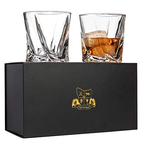 Twist Whiskey Glasses Set of 2. Ultra Clarity Glass Rocks Tumblers (10oz) by Van Daemon for Liquor, Bourbon or Scotch. Perfectly Gift Boxed.