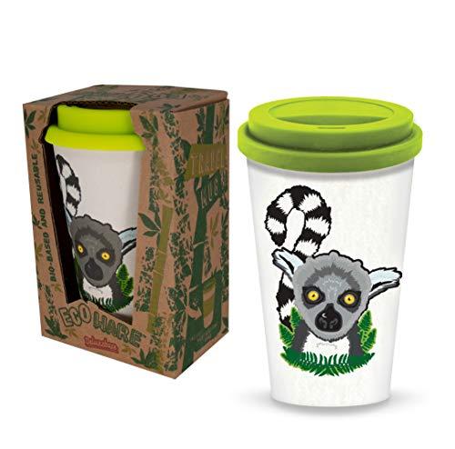 Ecoware Taza de Viaje Reutilizable - Lémur de cola anillada de Deluxebase. Taza ecológica con estampado animal de 400 ml. Para bebidas calientes como té y café hecha de bambú y materiales biológicos