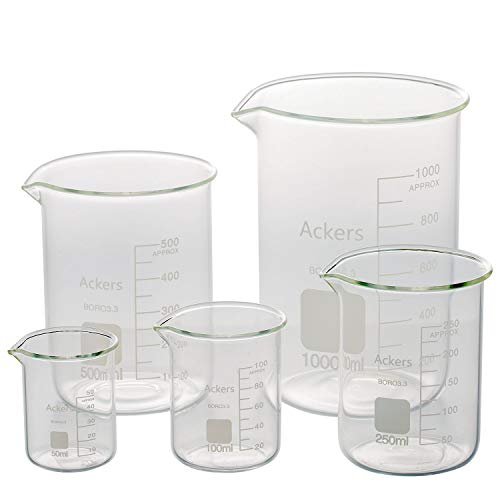 3.3 Boro Griffin Low Form Scientific Glass Beaker Set-50ml,100ml,250ml,500ml,1000 mL (Pack of 5)