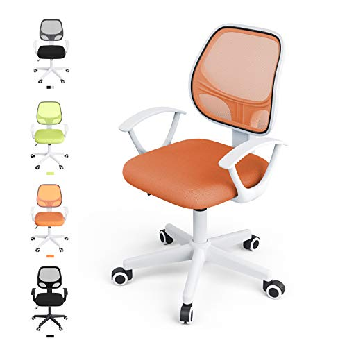 Mecor Low Back Small Office Chair, Lumbar Support Modern Office Chair Ergonomic Adjustable Height.Swivel Office Desk Chair for Back(Orange)