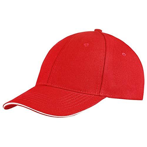 Style Klassische Baseball Cap für Damen und Herren aus reiner Baumwolle, verstellbar, Basecap Kappe Mütze Hut (Rot)