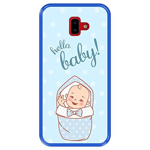Hapdey Funda Azul para [ Samsung Galaxy J6 Plus 2018 ] diseño [ Bienvenido, Hola bebé ] Carcasa Silicona Flexible TPU