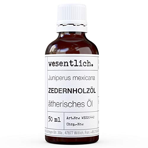 wesentlich. Zedernholzöl - ätherisches Öl - 100% naturrein (Glasflasche) - u.a. für Duftlampe und Diffuser (50ml)