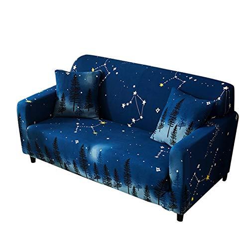 R&P Funda de Sofá Cielo Estrellado Estampada 1/2/3/4 Plazas Antideslizante Funda Cubre Sofas Elástica Funda para Sofá Chaise Longue Forma de L,3 Seat+2 Pillowcase