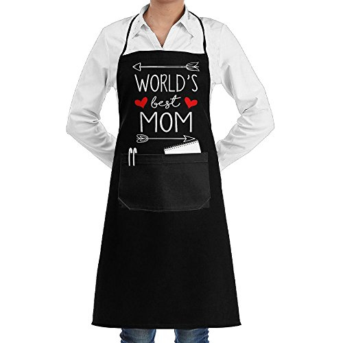 World's Best Mom Adjustable Bib Kitchen Apron With Pockets For Men Women