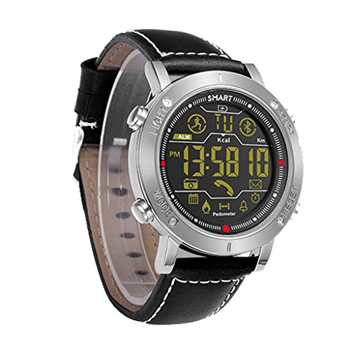 Bluetooth Smartwatch Pantalla TáCtil Reloj De Pulsera Deportes Gimnasio Rastreador con PodóMetro iOS Android Hombres Mujeres NiñOs (Plata Negro)