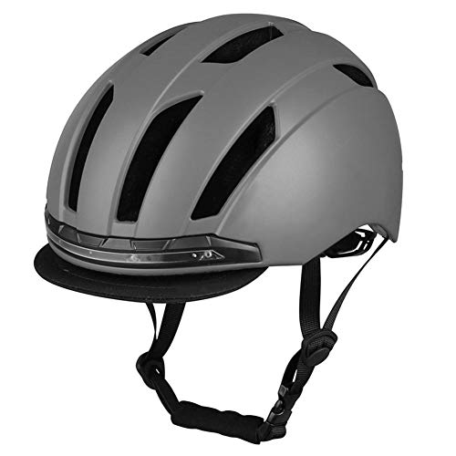 Eieay Youth Bicycle Helmets, Skateboard Helmets with Headlights Turn Signal Taillights Men and Women Youth Helmets Outdoor Scooter Helmets,Gray,M