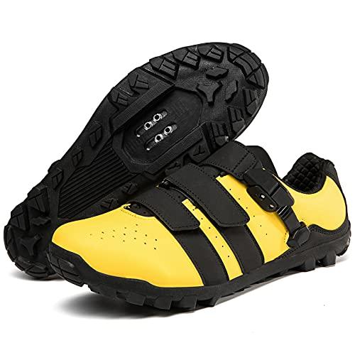 KUXUAN Zapatillas de Ciclismo para Hombre, para Mujer, Antideslizante, para Bicicleta de montaña, para Hombre, para Bicicleta de Carretera, MTB, para Carreras en Interiores y Exteriores,Yellow-40EU