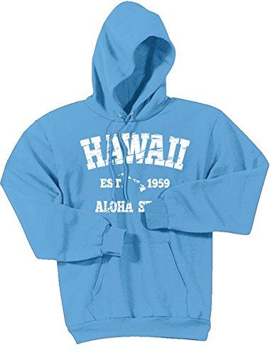 Vintage Hawaiian Islands Logo Hoodies - Hooded Sweatshirts. in Sizes S-5XL Aquatic Blue