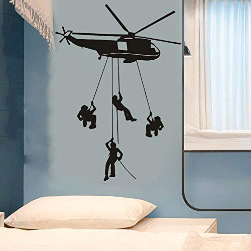 Helicopter Army Wall Decals Soldiers Landing from Aircraft Creative Art Wall Stickers for Teens Boys Room Men Military Fans Bedroom Living Room Home Decoration (Helicopter)