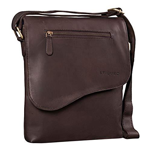 STILORD 'Amelio' Bolso Mensajero Piel Vintage Mujer Hombre Bolso Bandolera para Tablet 10.1 Pulgadas Bolso Unisex para Viaje Ocio Cuero Auténtico, Color:marrón Oscuro - Opaco