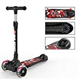 New Olym Kids Scooter for Boys and Girls 3 Flashing Wheels,Foldable with 4 Adjustable Height|All-Covered Brake Great for Toddlers Ages 3-14 Years Black