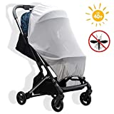 Moskitonetz Kinderwagen Universal Insektenschutz mit Sonnenschutz Mückennetz für Kinderwagen & Buggy mit UV Schutz 40+ spendet angenehmen Schatten