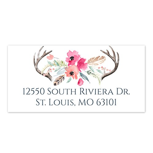 Floral Antler Self-Adhesive Rectangle Address Labels/Boho Chic Personalized Labels/Minimum Quantity 96 Stickers