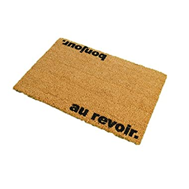CKB Ltd Bonjour, Au Revoir Novelty Doormat Unique Doormats Front/Back Door Mats Made With A Non-Slip Pvc Backing - Natural Coir - Indoor & Outdoor