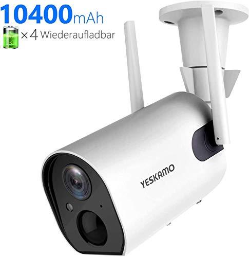 YESKAMO Menschenerkennung Überwachungskamera Aussen mit AKKU 10400mAh IP Kamera WLAN 1080P Camera Zwei Wege Audio Wasserdicht PIR Bewegungserkennung