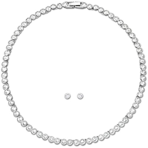 SWAROVSKI Women's Tennis Necklace and Stud Earring Set, White Crystal, Rhodium Plated