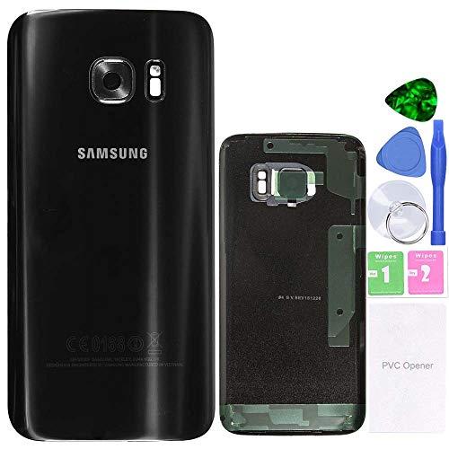 MovTEK Akkufachdeckel Akkudeckel Rückseite Glas für Original Samsung Galaxy S7 G930 Serie Schwarz Backcover Batterieabdeckung Reparatur-Set Black