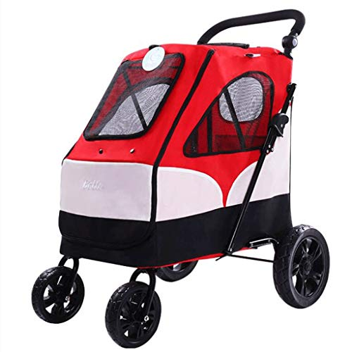 Carrito Para Perros Mochila Viajes cochecito del animal doméstico, 4 ruedas grandes Cat Dog Silla de paseo Carretilla Big Space Buggy del basculador del cochecito de niño portador portátil plegable fo