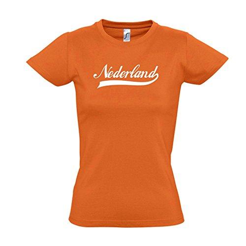 Damen T-Shirt - Nederland Oldschool Holland Oranje LÄNDERSHIRT EM/WM Fan Trikot S-XXL, Orange - weiß, M