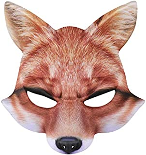 Novelty Halloween Mask Fox Shape Half Face Cosplay Costume Party Mask Scary Party Gras Half Ball Real Like Mask for Adults and Kids