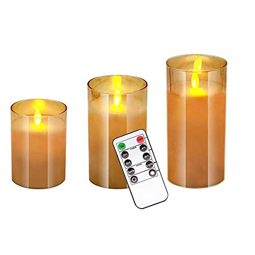 Pemedor Plating Brown Glass LED Candle Simulation Swing Flame with Remote Control Electronic Candle Light Set of 3(H 4'5'6' x D 3')with Control Timer ,for Wedding,Festival Decorations,Gift,3 Pack