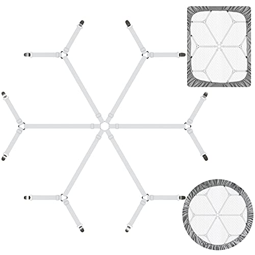 DORPU Sheet Straps Elastic Fastener Adjustable Bed Sheet Holder Straps with Harmless Buckle Sheet Clips Design (6 in 1 Belt with 12 Clips), White