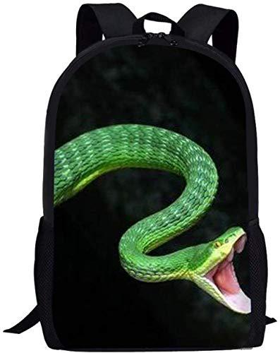 Mochila con Estampado de Serpiente Verde para niños Adolescentes Escuela Secundaria Primaria Durable 17.3 Pulgadas