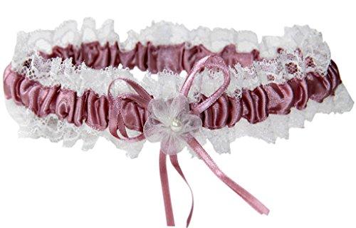 hochzeits-shop-hamburg Strumpfband M8242IJH für die Braut mit Blumen und Schleife Bordeaux